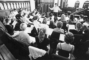 The Manhattan Choral Ensemble in Rehearsal